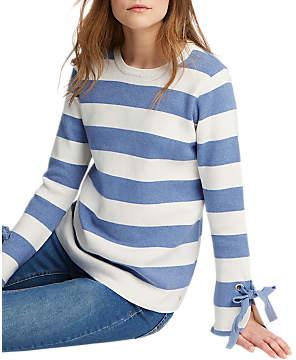 Joules Myanna Tie Sleeve Jumper, Light Blue Stripe