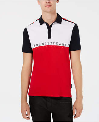 Armani Exchange Men's Colorblocked Logo Polo, Created for Macy's