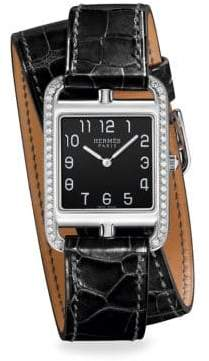 Hermes Watches Cape Cod Diamond, Stainless Steel& Alligator Strap Watch