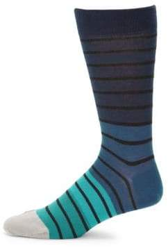Saks Fifth Avenue Gradient Wide Stripe Mid-Calf Socks