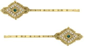 Downton Abbey Gold-Tone Emerald Green Crystal Bobby Pin Set