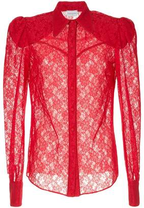 Magda Butrym sheer lace shirt