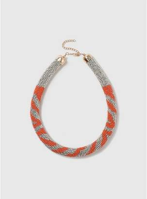 Evans Orange Mini Bead Necklace