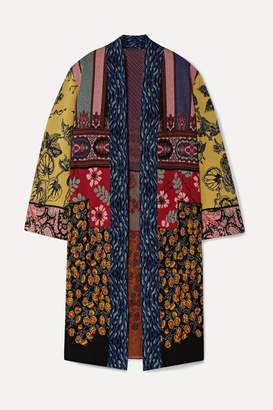 Etro Patchwork Metallic Jacquard-knit Cardigan - Burgundy
