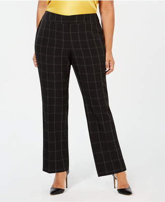 0bd860eb4ae Kasper Plus Size Windowpane-Print Pants