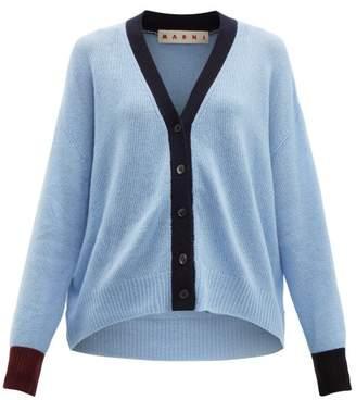 Marni Asymmetric Cuff Cashmere Cardigan - Womens - Blue Multi