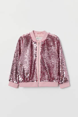 H&M Bomber Jacket with Sequins - Pink