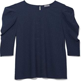 Vince Camuto Pinstripe Puff-shoulder Top