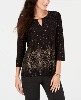 JM Collection Metallic 3/4-Sleeve Keyhole Top, Created for Macy's
