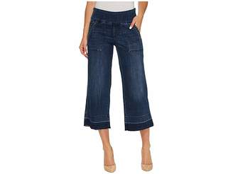 Jag Jeans Snyder Pull-On Wide Leg Pants in Crosshatch Denim in Thorne Blue Women's Casual Pants