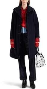 Comme des Garcons Women's Ruffle Angora-Wool Coat - Navy