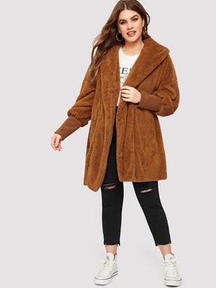 Shein Plus Wide Cuff Hooded Teddy Coat