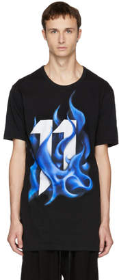 11 By Boris Bidjan Saberi Black Logo Flame T-Shirt