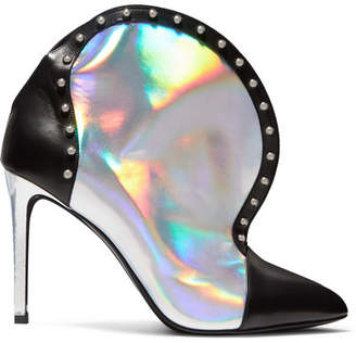 Balmain Iren Studded Smooth And Iridescent Leather Ankle Boots - Silver