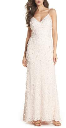 Eliza J Floral Applique Lace Gown