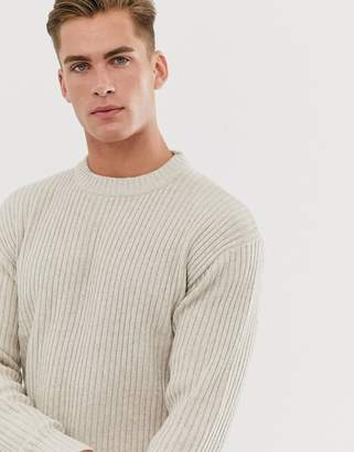 Selected ribbed crew neck jumper in beige