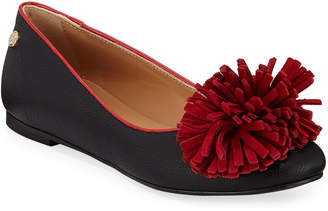 Love Moschino Two-Tone Pompom Ballet Flats