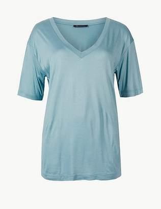 Marks and Spencer Mercerised V-Neck Short Sleeve T-Shirt