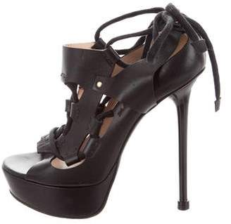 Versace Leather Lace-Up Sandals
