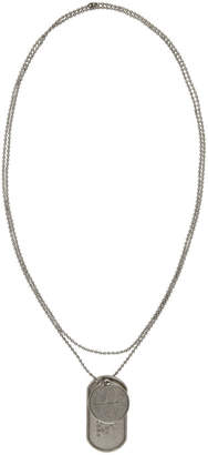 Marc Jacobs Silver Redux Grunge Dog Tag Necklace