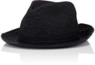Kaminski Men's Rollable Raffia Fedora - Black Size M