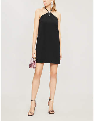 Miu Miu Star-embellished halterneck cady mini dress