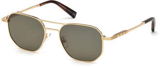 Ermenegildo Zegna Square Metal Aviator Sunglasses, Brown Pattern