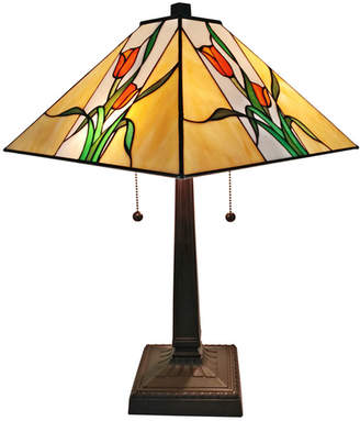 Tiffany & Co. AMORA Amora Lighting AM200TL14 Style Floral Finish Mission Table Lamp 21 inches