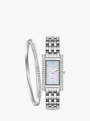Citizen EX1470-60D SET Women's Eco-Drive Crystal Bracelet Strap Watch and Bangle Gift Set, Silver/Mother of Pearl