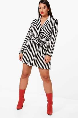 boohoo Plus Stripe Wrap Front Mini Shirt Dress