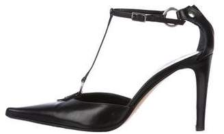 Sergio Rossi Leather Pointed-Toe T-Strap Pumps