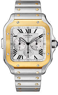Cartier Women's Santos de Extra-Large 18K Yellow Gold & Stainless Steel Two Strap Chronograph Watch