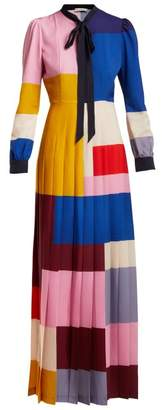 Mary Katrantzou Duritz Colour Block Crepe De Chine Dress - Womens - Multi