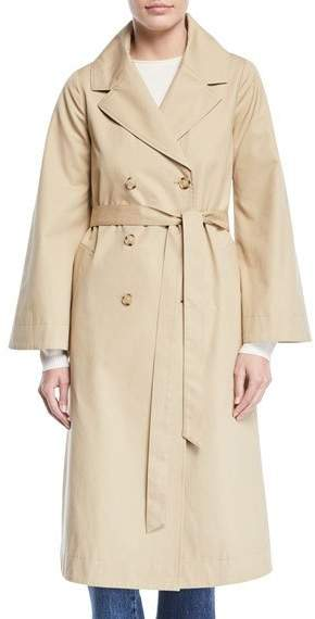 Double-Breasted Portrait-Collar Belted Cotton Trench Coat
