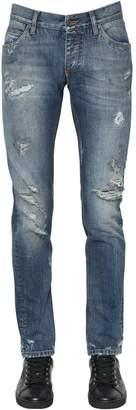 Dolce & Gabbana 17cm Destroyed Cotton Denim Jeans