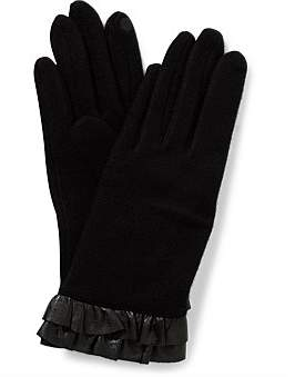 Gregory Ladner Wool Glove W Leather Ruffle Trim