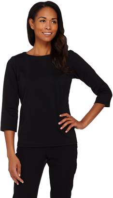 Joan Rivers Classics Collection Joan Rivers Wardrobe Builders 3/4 Sleeve Round Neck Top