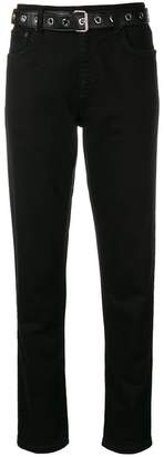 Moschino belted slim fit jeans