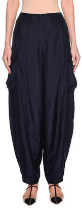 Emporio Armani Silk Habutai Harem Pants with Cargo Pockets