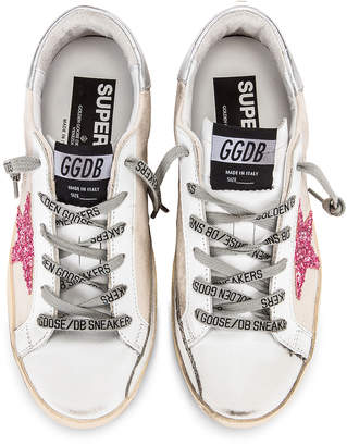 Golden Goose Metal Lettering Superstar Sneakers in Natural Canvas & Pink | FWRD
