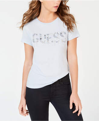 GUESS Beaded-Logo T-Shirt