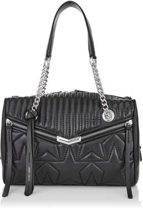 Jimmy Choo HELIA BOWLING Black and Silver Leather Bag with Star Matelassé