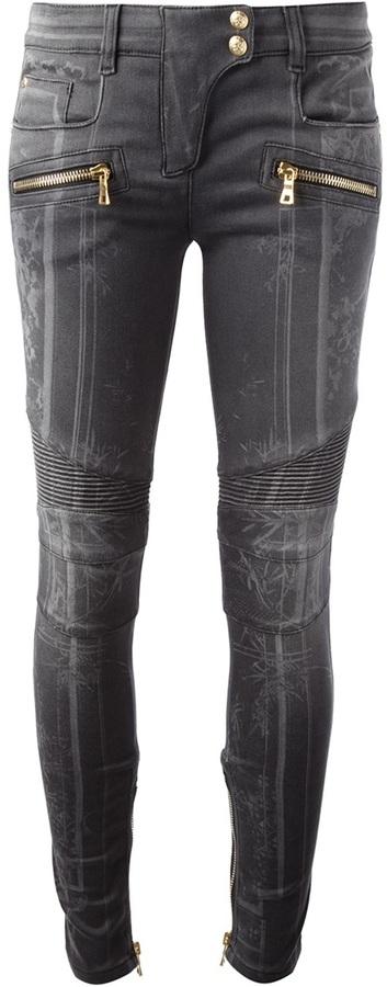Balmain bamboo print skinny jean