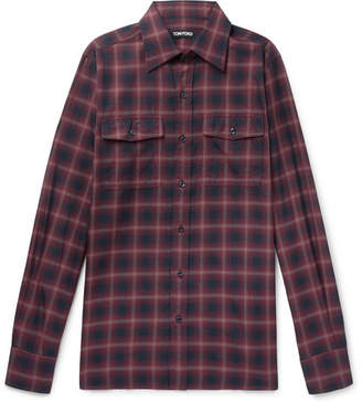 Tom Ford Slim-Fit Checked Cotton Shirt - Men - Red