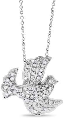 14K White Gold 0.65ct. Diamond Dove Bird Peace Pendant Necklace