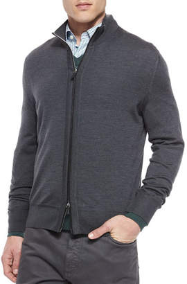 Ermenegildo Zegna High-Collar Zip Cardigan, Charcoal