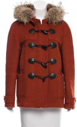Burberry Fur Trimmed Wool Coat