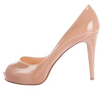 Christian Louboutin  Christian Louboutin Patent Leather Peep-Toe Pumps