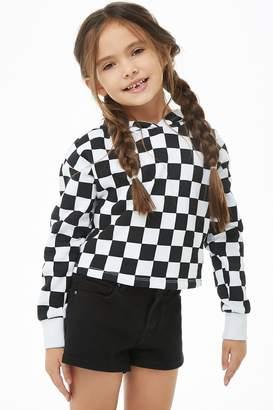 Forever 21 Girls Checkered Fleece Knit Hoodie (Kids)