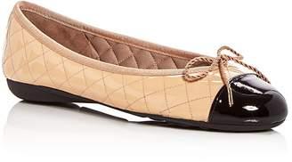 Paul Mayer Women's Best Quilted Leather Cap Toe Ballet Flats